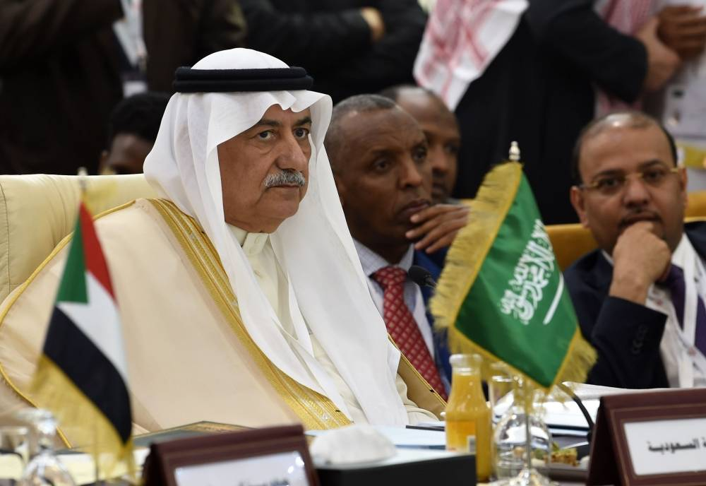 Saudi Foreign Minister Ibrahim al-Assaf attend a preparatory meeting for foreign ministers in Tunis on March 29, 2019 ahead of the annual Arab summit. (Photo by FETHI BELAID / AFP)