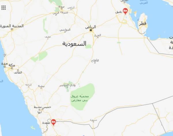 خريطة تبين المسافة بين صعدة في اليمن وبقيق في السعودية