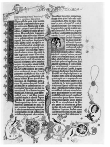 صفحة من الكتاب المقدس لغوتينبرغ حوالي عام 1454