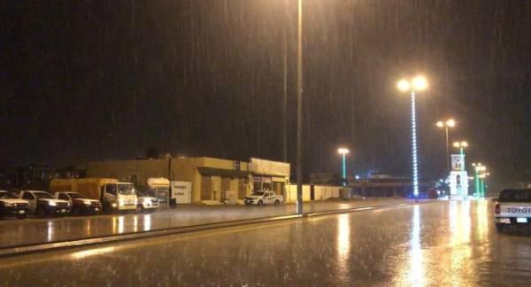 هطول المطر على غرب نجران