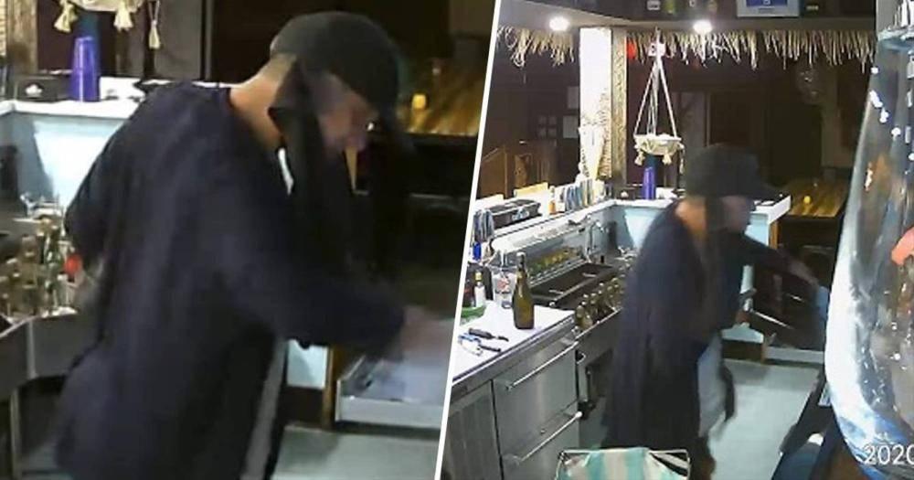 لص يسكر وهو يسرق مطعم