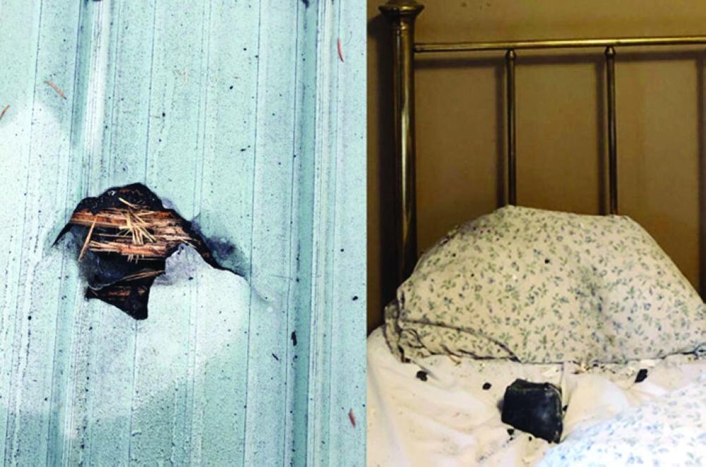 امرأة تستيقظ لتجد حجرا فضائيا على مخدتها