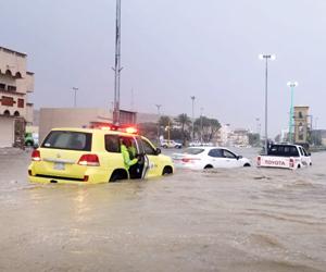 أمطار غزيرة على تبوك والمدينة