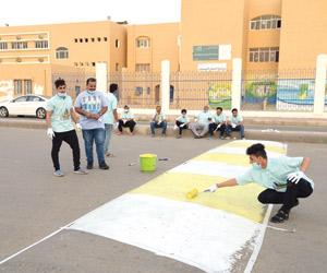 إعادة طلاء المطبات الصناعية أمام المدارس