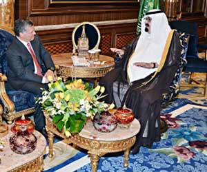 خادم الحرمين يبحث مع ملك الأردن وولي عهد أبو ظبي م